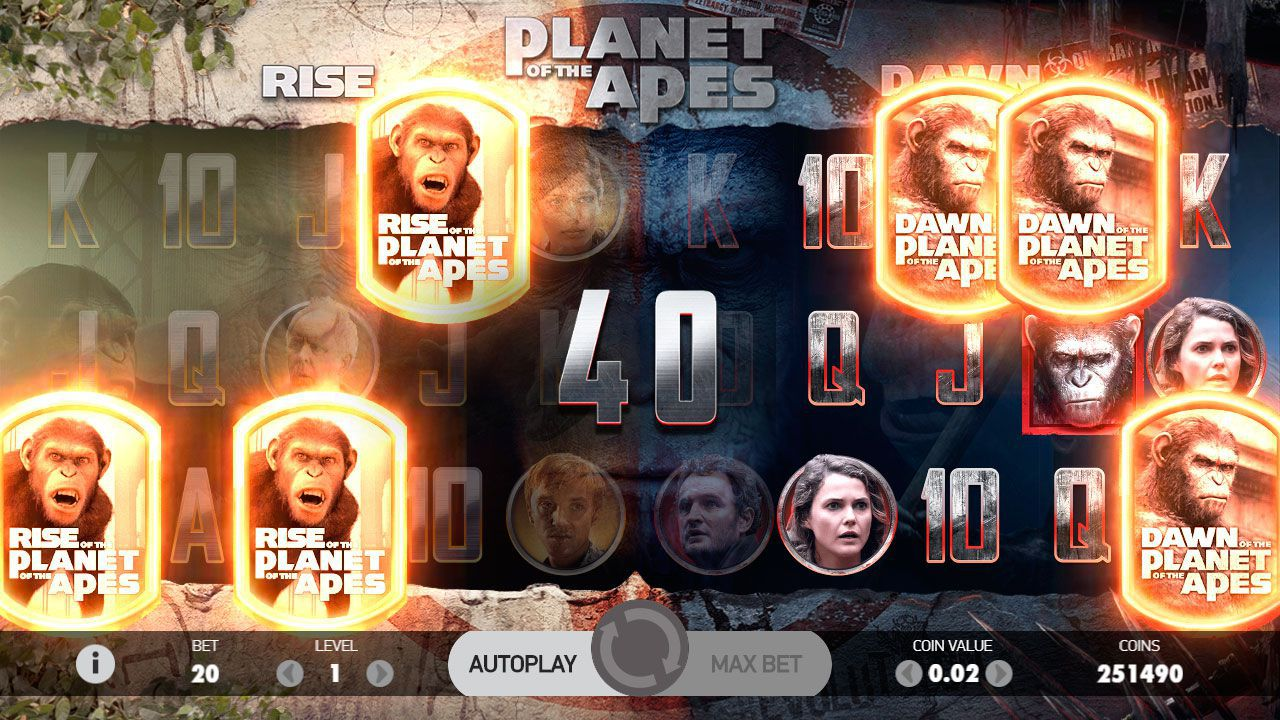 Multiple Free Spins в игровом автомате Planet of the Apes