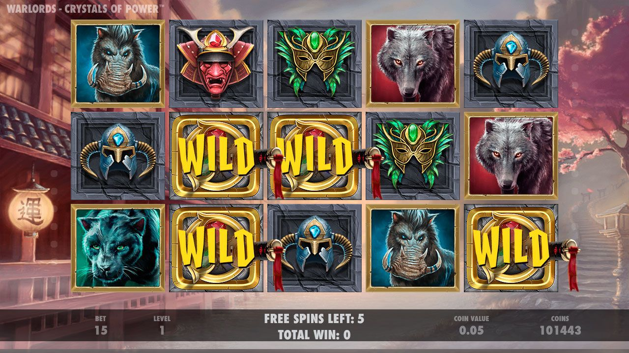Samurai Free Spins в игровом автомате Warlords: Crystal of Power